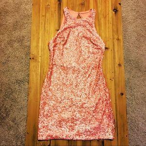Peach Pink Sequin Dress